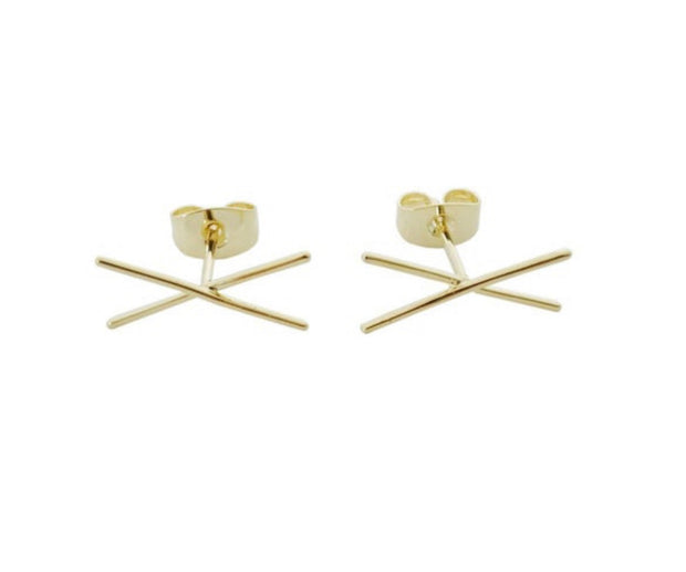 Cross Bar Earrings In Gold - Phoebe Jane
