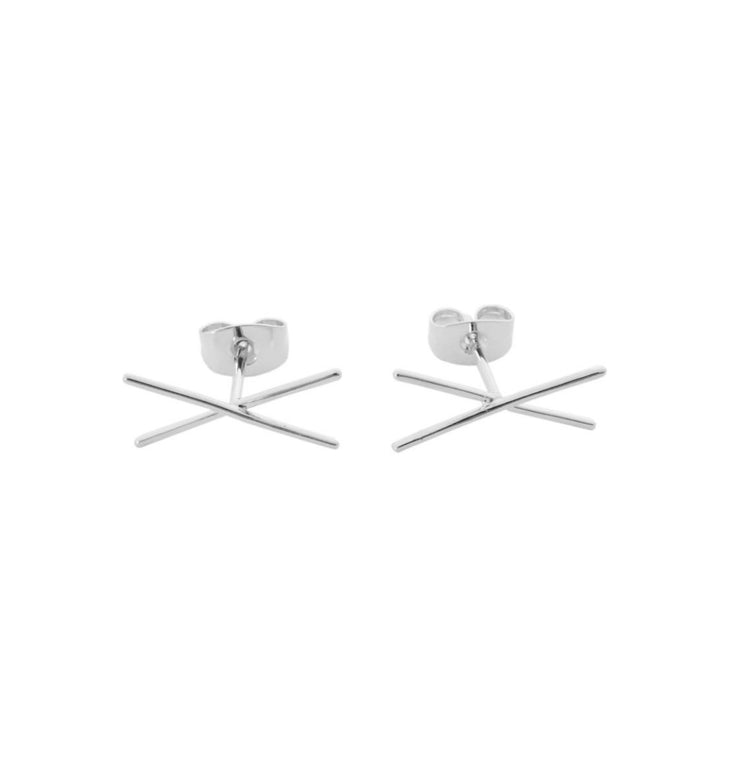 Cross Bar Earrings In Silver - Phoebe Jane