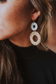 Dangly Acetate And Wood Hoop Earrings In Natural - Phoebe Jane