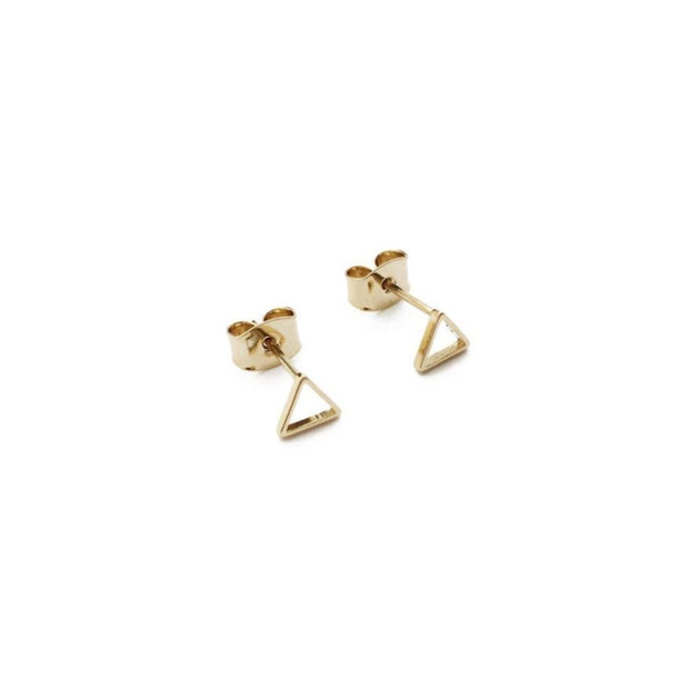 Outline Triangle Stud Earrings In Gold - Phoebe Jane