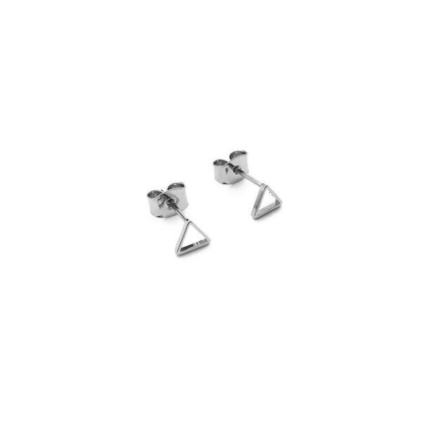 Outline Triangle Stud Earrings In Silver - Phoebe Jane