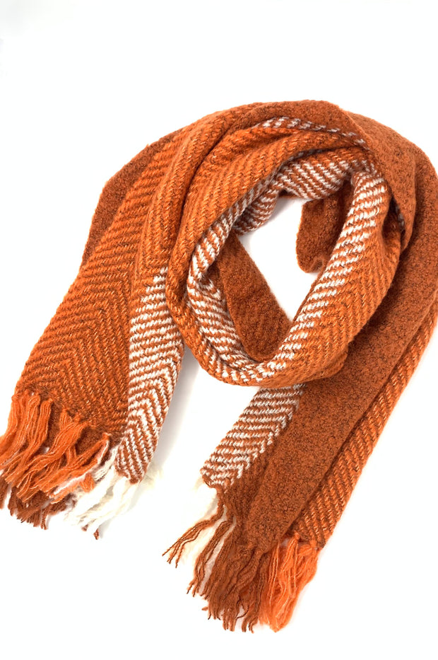 Bianca Two Tone Soft Long Scarf With Fringe - Phoebe Jane