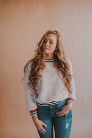 Plush Banded Hem Sweatshirt In Off White - Phoebe Jane