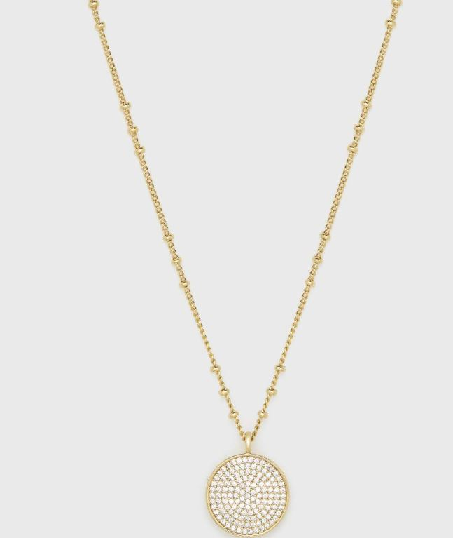 Gorjana - Pristine Pave-Encrusted Coin Necklace In Gold - Phoebe Jane