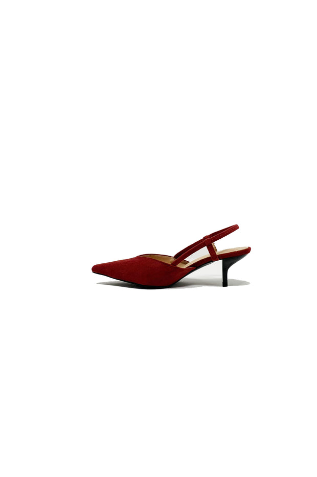 Brandy Suede Kitten Heels in Burgundy - Phoebe Jane