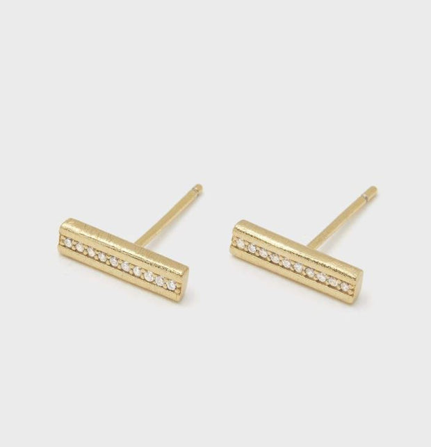 Gorjana - Nia Shimmer Bar Stud Earrings In Gold - Phoebe Jane