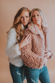 Furry Zip Front Jacket - Mauve - Phoebe Jane