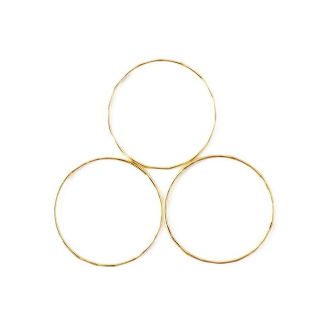 Super Skinny Hammered Stacking Ring Trio In Gold Size 6 - Phoebe Jane