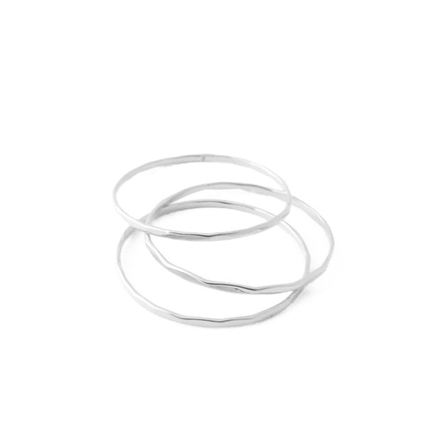 Super Skinny Hammered Stacking Ring Trio In Silver Size 6 - Phoebe Jane