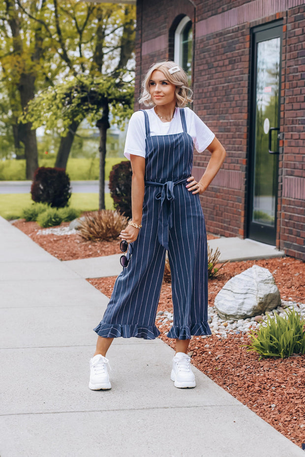Navy Striped Wrap Jumpsuit With Cropped Hem Ruffle Detail - Phoebe Jane