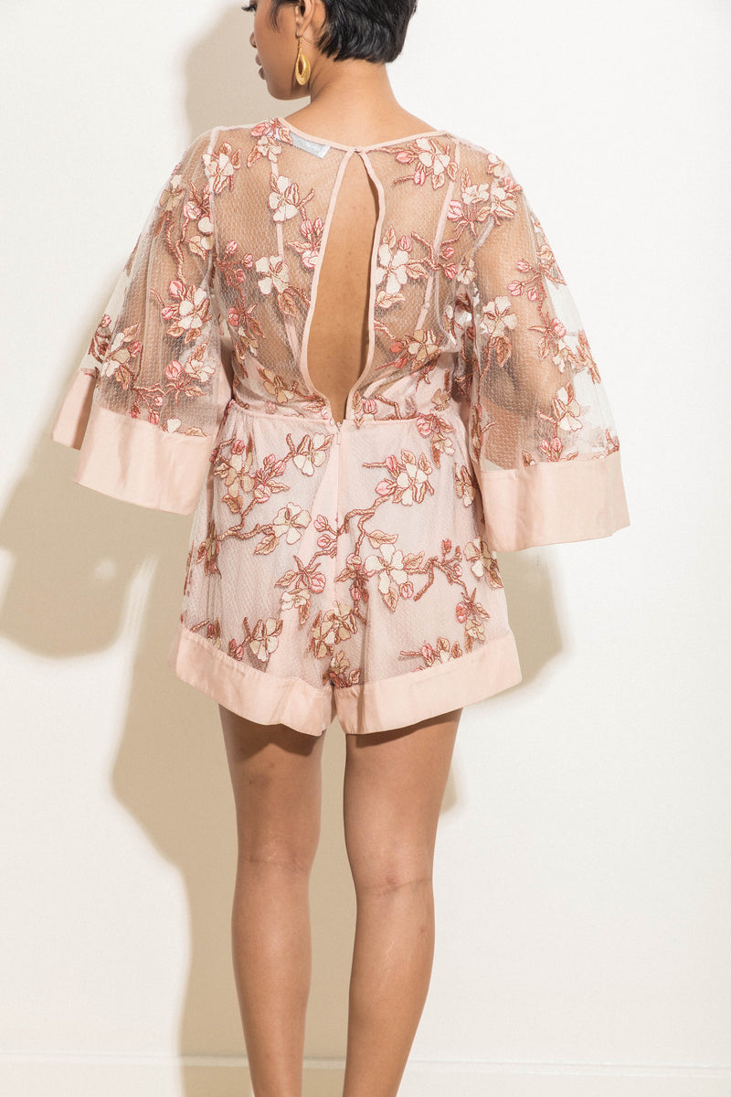 Pink semi-sheer playsuit