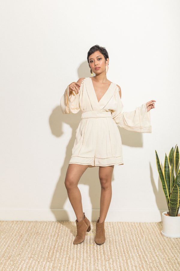 Playsuit with bell sleeves