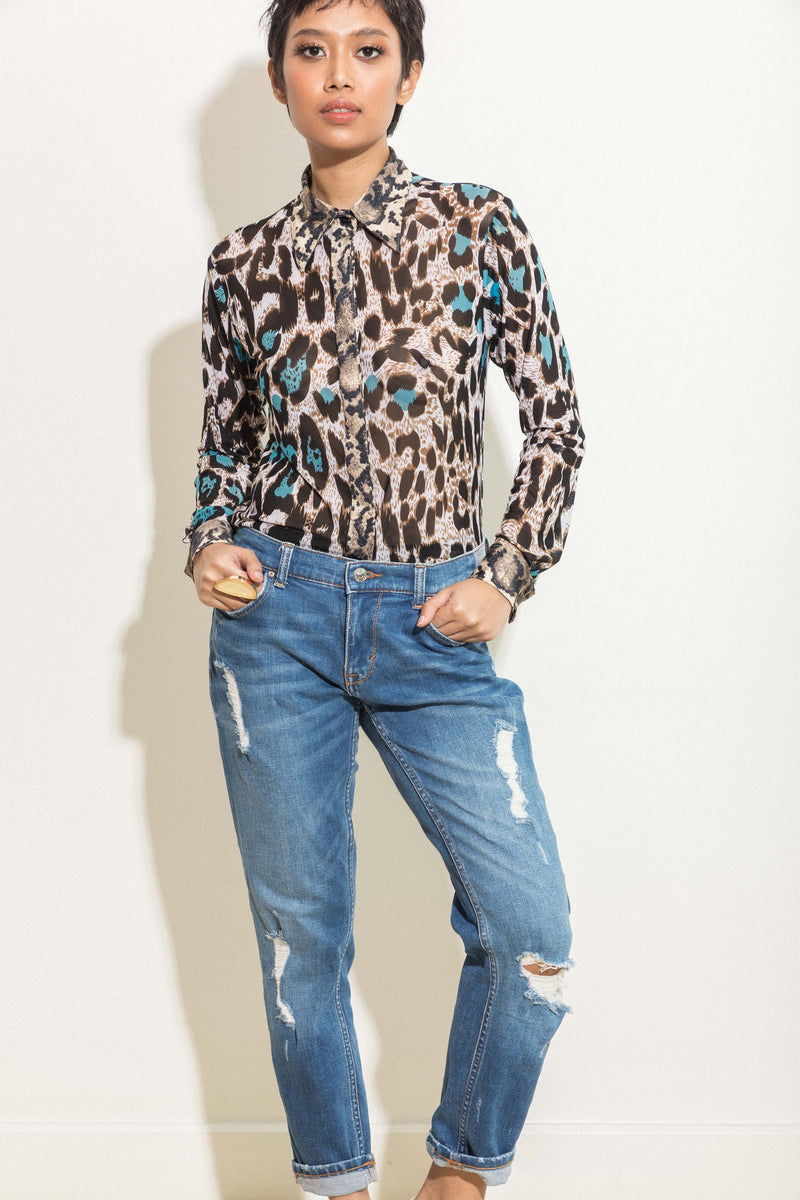 Button down shirt in mixed animal prints