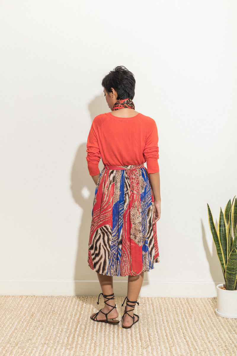 Red-and-blue animal print skirt