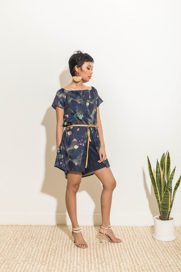 Navy blue printed playsuit