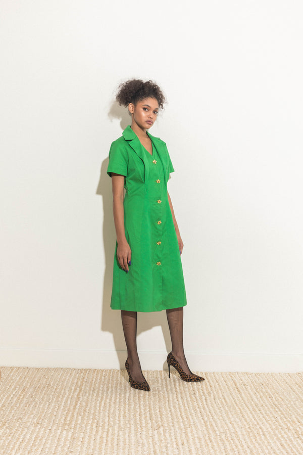 Green Button-Front Dress