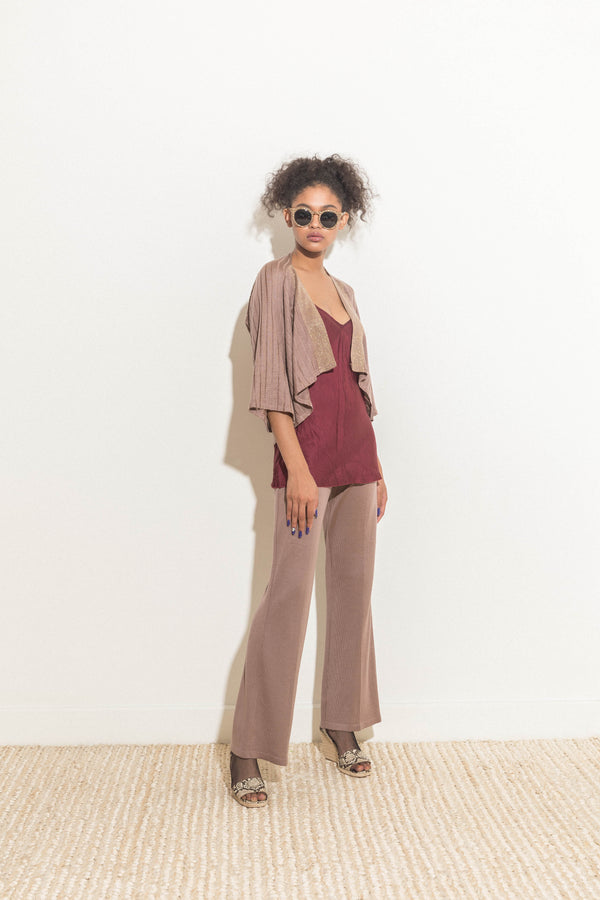 Open-front Cardigan in Mauve