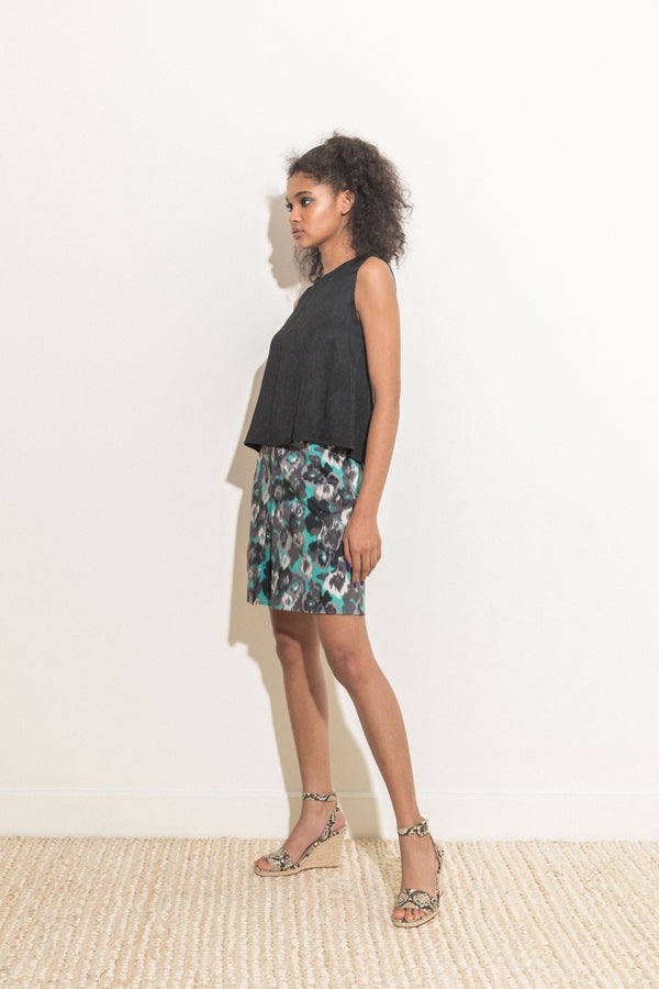 Teal printed skirt