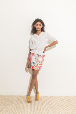 Mini Skirt in Pink Floral Print