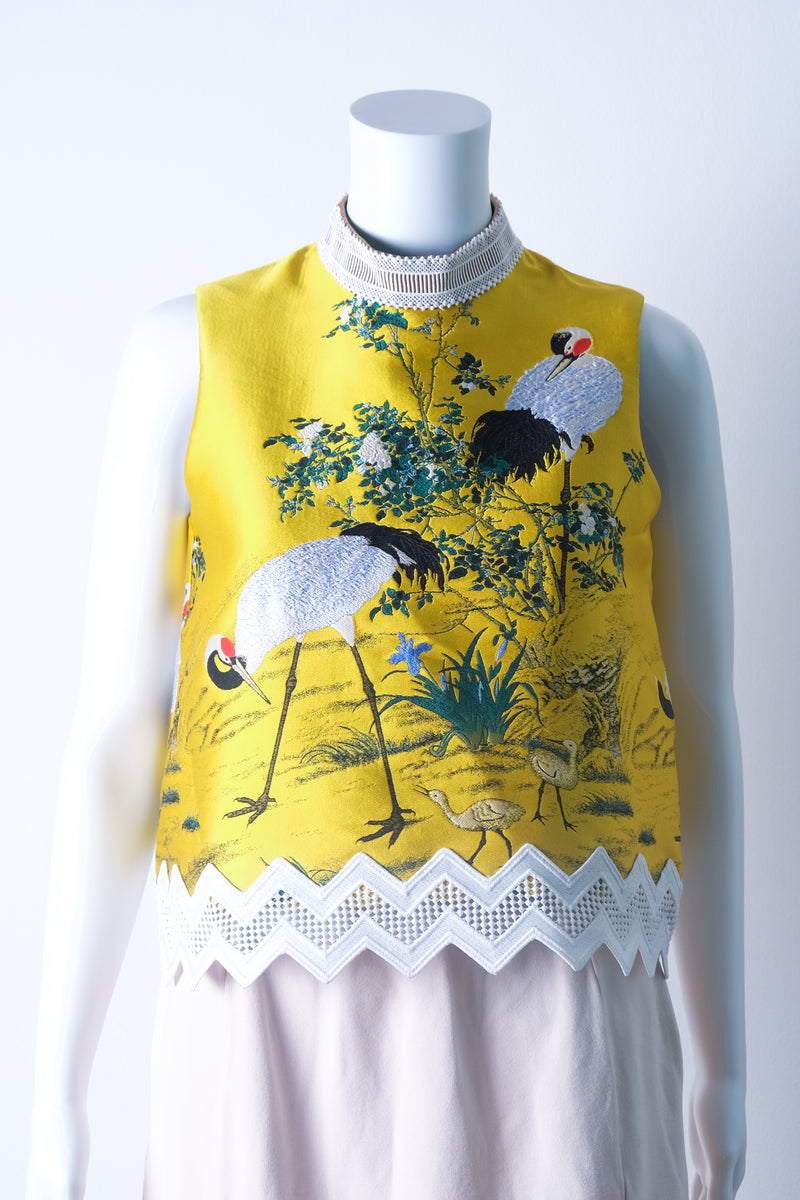 Printed yellow brocade top