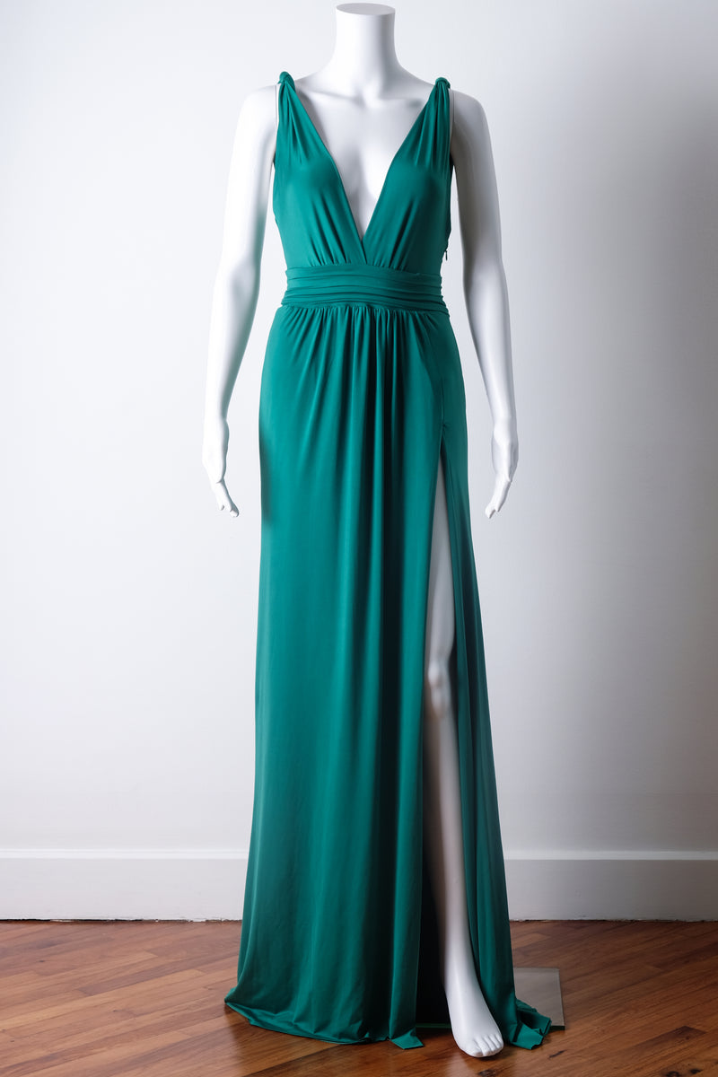 Emerald green evening gown