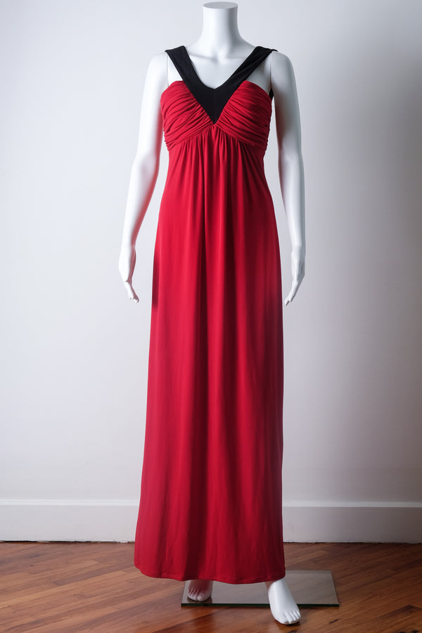 Ruched red evening gown