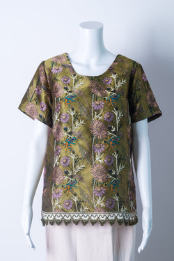 Two-tone brocade top