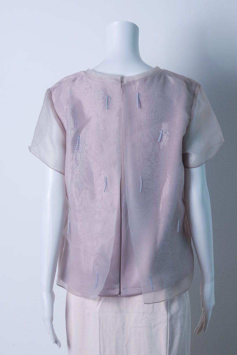 Embellished top with organza overlay