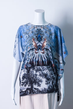 Printed top with asymmetrical sleeves