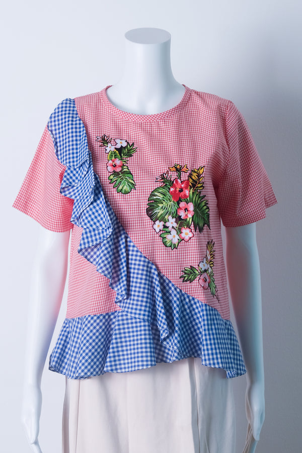RUFFLED TOP IN pink gingham