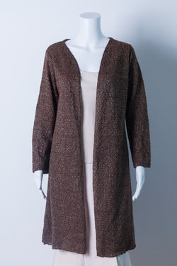 Brown cardigan with gold lurex
