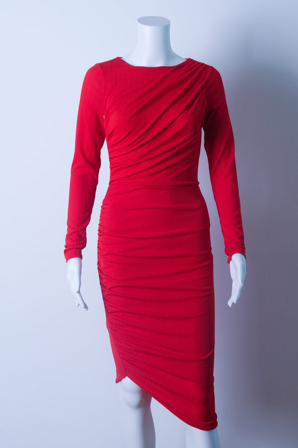 Ruched red midi dress