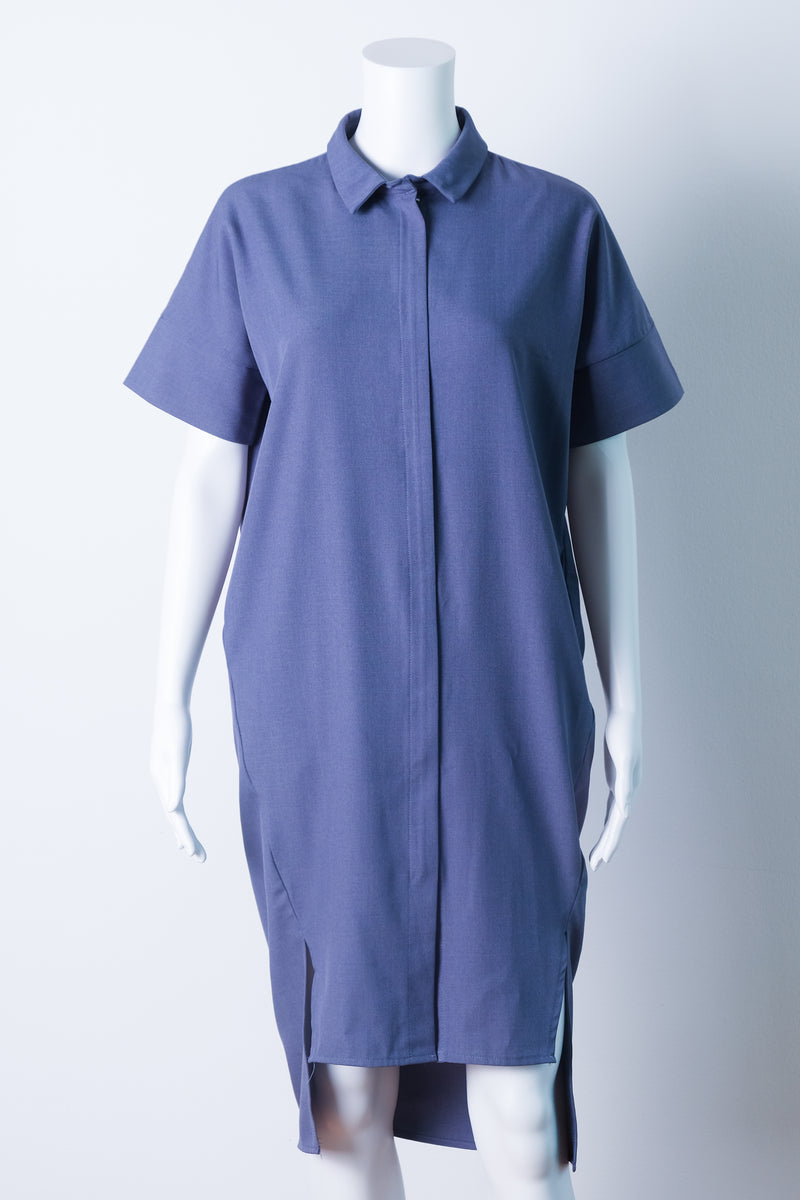 collared shirtdress in blue