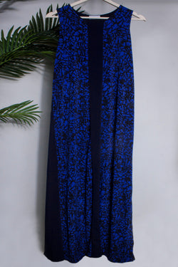 Abstract maxi dress in blue