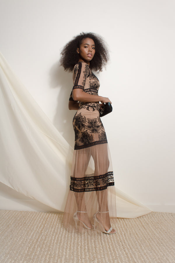 Floor-length mesh dress