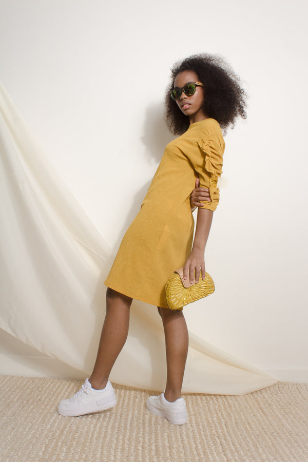 Yellow Dress with Ruffled Sleeves