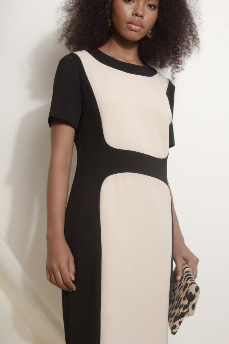 Panelled black-and-white shift dress