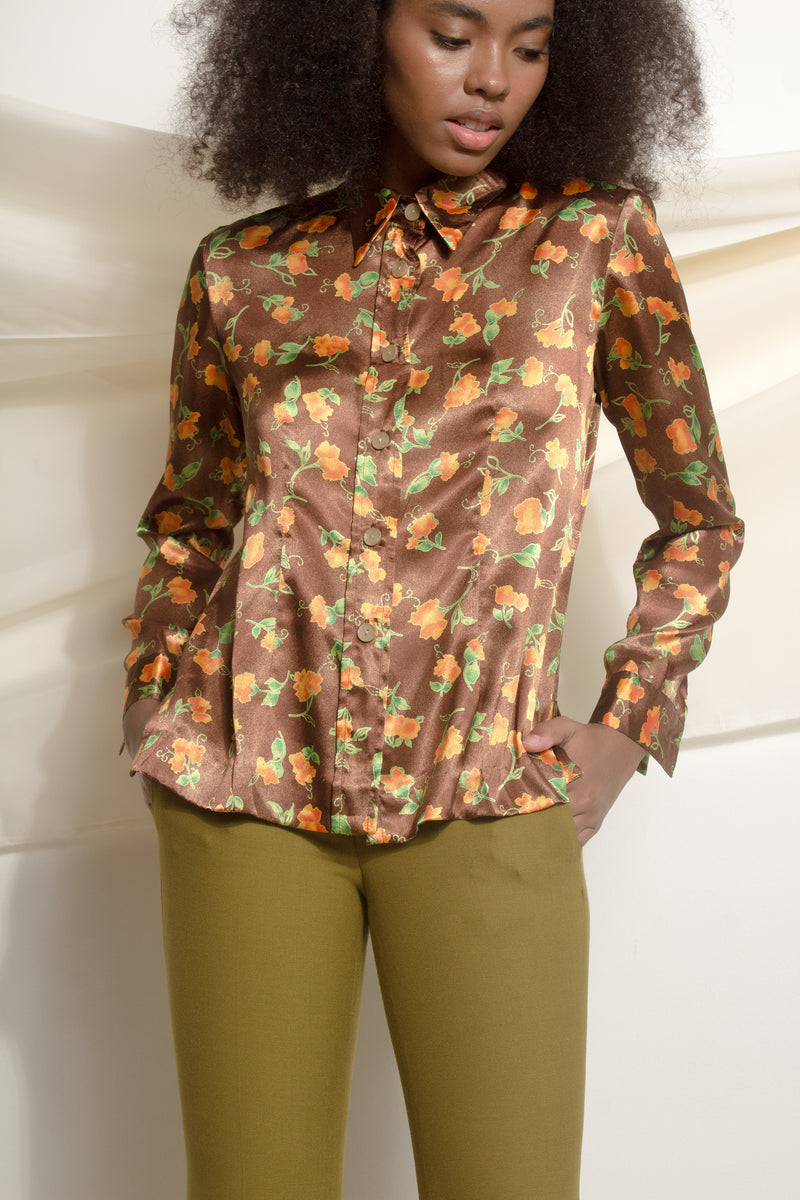 Brown floral satin shirt