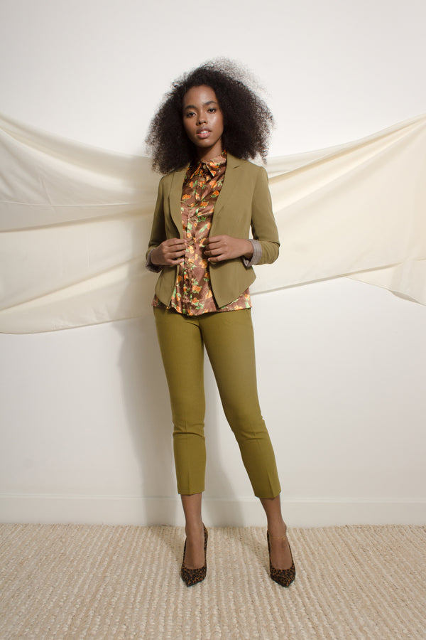 Green blazer with cropped back