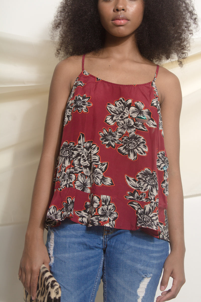 Silk Floral-print camisole