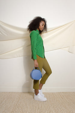 Polka dot shirt in green corduroy