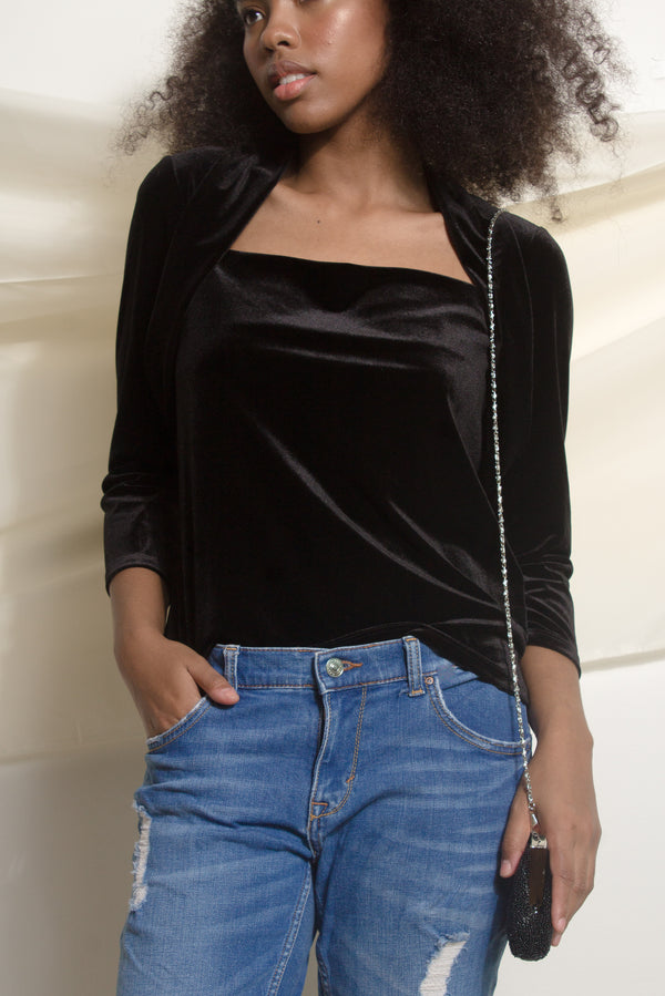Black Velvet Evening Top