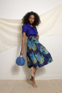 Blue-tone floral skirt