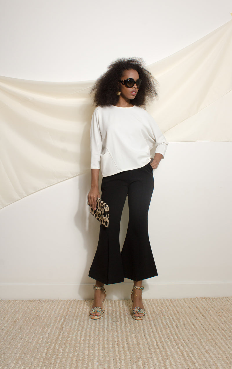 Oversized jersey top with batwing sleeves