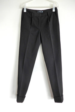straight leg pants with cuffed hems