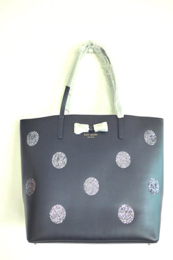 Navy blue smooth leather open tote