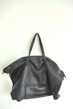 Pebbled black leather weekender