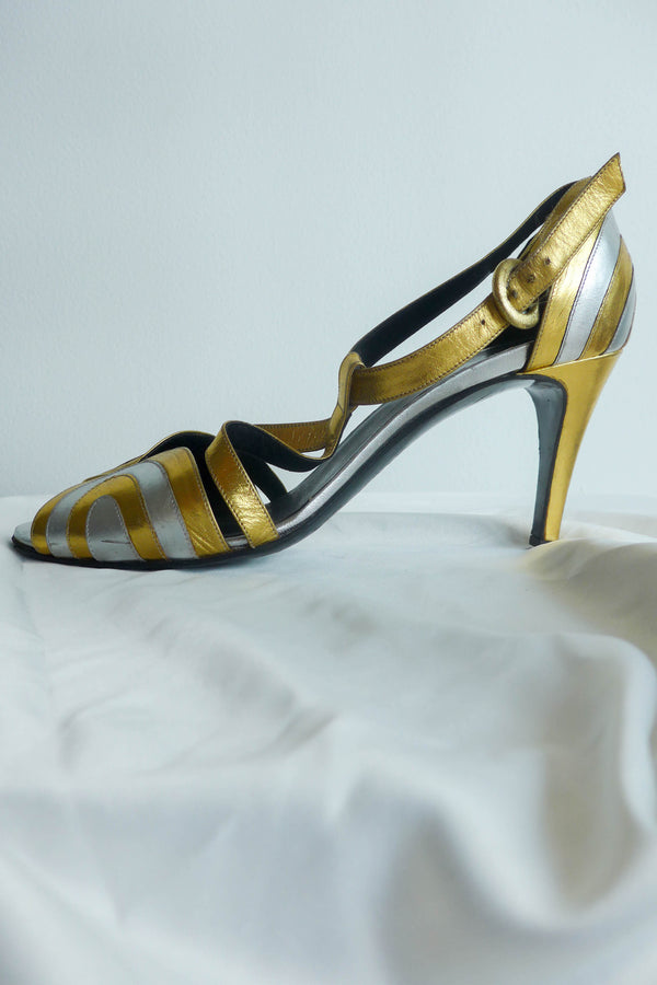 Art deco peep-toe sandals