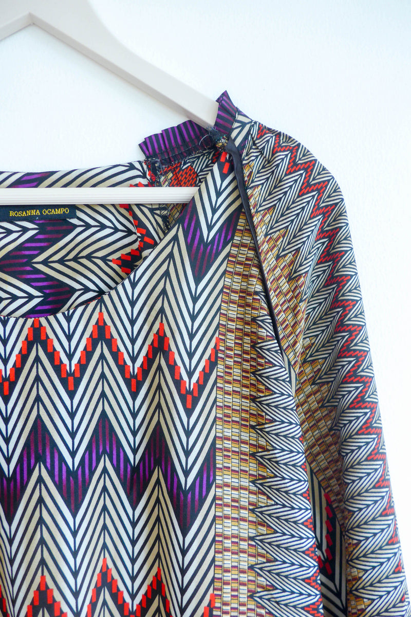 Draped Top with Zigzag Patterns