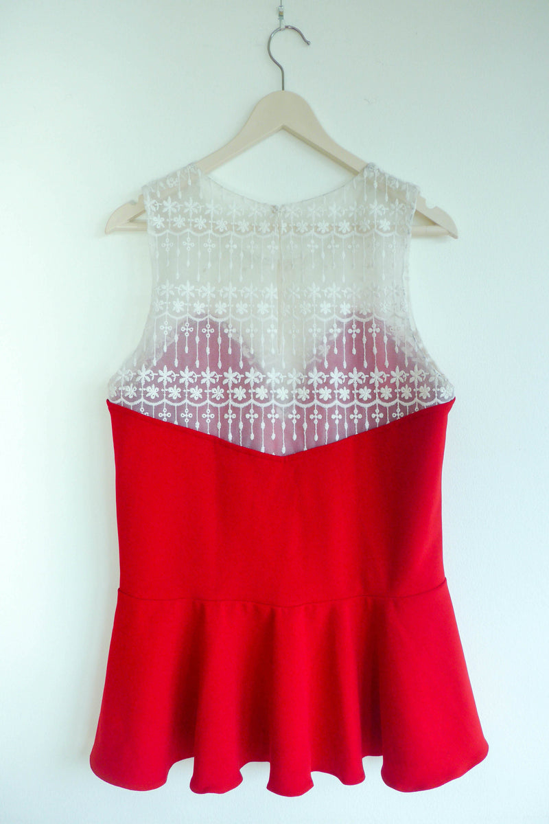 Top with Sheer Panel and Sweetheart Neckline